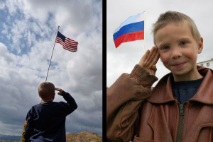 American Exceptionalism - two boys salute their respective flags